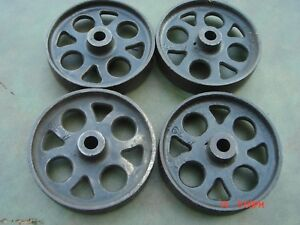 John Deere Cast Iron Wheel Set Hit Miss Gas Engine Steam Punk Industrial Cart 6
