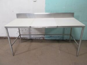 Commercial Heavy Duty 100 S s 72 w Prep work butcher Table W poly Board Top