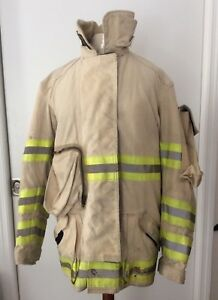 Globe Firefighter Turnout Gear Tan Lrg Jacket With Nomex Lll Liner Both Washed