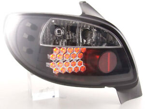 Black Clear Finish Led Tail Rear Lights For Peugeot 206 3 5 Door Model 98 05