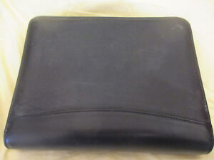 Franklin Covey Classic Black Full Grain Leather Planner Organizer Zipper 7 Ring