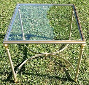 Vintage Mid Century Modern Brushed Chrome Brass Glass End Table