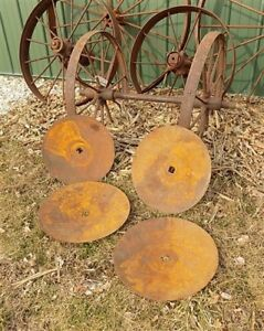 4 Plow Disc Blades Industrial Steampunk Farm International Vintage Cast Iron A33