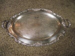 Reed Barton 1665 Silverplate Waiter Tray 25 25 X16 5 In King Francis Pattern