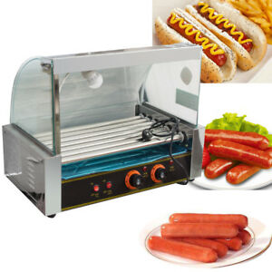 Commercial 18 Hot Dog Hotdog 7roller Grill Cooker Machine W cover Delicious