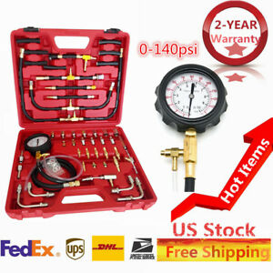 Pro Manometer Fuel Injection Pressure Tester Gauge Kit System 0 140 Psi 0 10bar