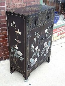 Asian Antique Black Lacquer Stone Inlay Flower Birds Cabinet Chest Cupboard