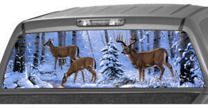 Deer Family In The Snow Forest Rear Window Graphic Decal Tint Suv Ute Truck Wrap