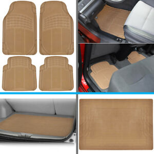 Heavy Duty Rubber Car Floor Mats W Cargo Trunk Liner For Honda Civic Beige