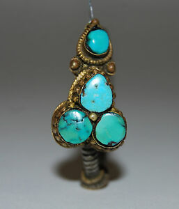 Rare Antique Late 18c Early 19c Tibet Men S Earring Turquoise Silver