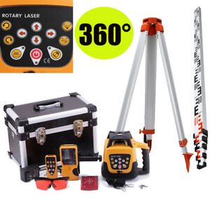 Red Beam 500m Range Auto Self Leveling Rotary Rotating Laser Level tripod Staff