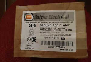 Box Of 50 Galvan Electrical G5 5 8 Ground Rod Clamp