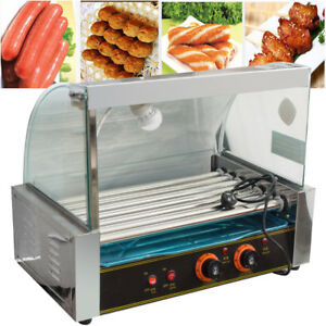 Roller Commercial 18 Hotdog Hot Dog 7 Roller Grill Cooker Machine W cover New Us