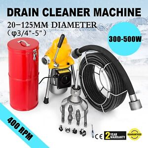 3 4 5 Pipe Drain Cleaner Machine Cleaning Max Length 99ft Bathtub Sewer