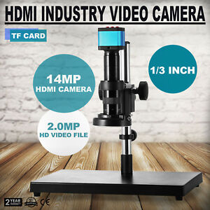 180x C mount Video Microscope Camera Hdmi Usb Led Magnifier Industrial 14mp Fast