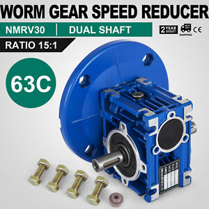 Worm Gear 15 1 63c Speed Reducer Gearbox Dual Output Shaft Unique Hq Durable