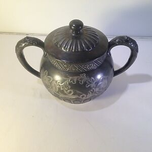 Rockford Silver Plate Co Quadruple Plated Etched Sugar Bowl 993 W Lid