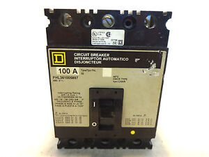 New Square D Fhl361005897 3 Pole 100 Amp Circuit Breaker With Shunt Trip