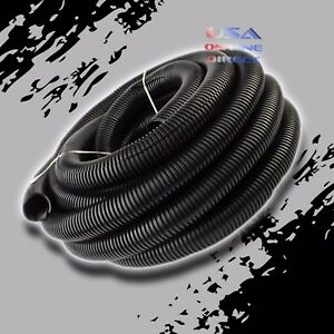 1 Conduit Car Home Boat 40 Foot Tubing Split Wire Loom Black Color Sleeve Tube