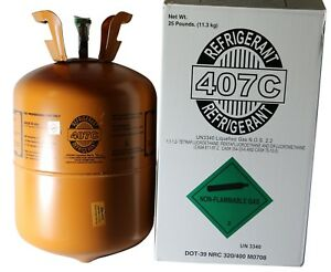 R 407c With Oil For Easy Install Of R22 Refrigerant 25 Lb Cylinder New 9980