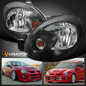 2003 2005 Dodge Neon Black Replacement Headlights Head Lamps Left right