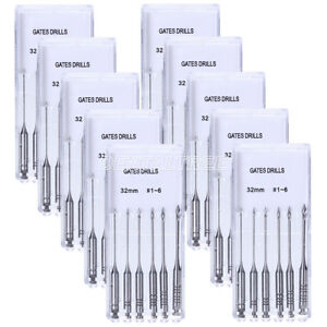 10kit Dental Engine Gates Glidden Drill 32mm Size 1 6 Stainless Steel 6pcs kit