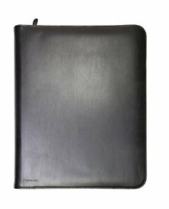 Monolith A4 Leather Conference Folder Zipped Black