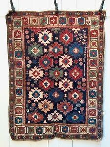 Extremely Rare Antique Snowflake Caucasian Shirvan Kuba Rug Work Of Art 1860 80