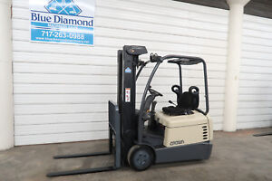 2003 Crown 3 000 Lb Three Wheel Electric Forklift 36 Volt Triple Sideshift