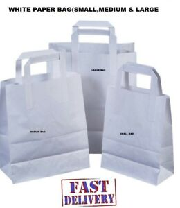 White Kraft Paper Sos Food Carrier Bags With Handles Party Takeaway Etc