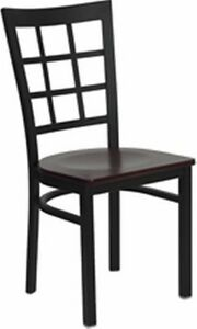 New Metal Designer Restaurant Chairs W Mahogany Wood Seat Lot Of 20 Chairs