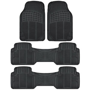 Heavy Duty Rubber Car Floor Mats 3 Row Protection For Gmc Acadia Black