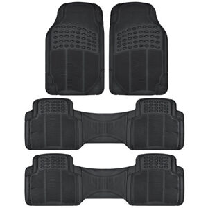 All Weather Rubber Car Floor Mats 3 Row Coverage For Honda Pilot Black