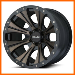 20x9 Helo He901 5 6 8 Lug 4 New Black Tinted Wheels Rims Free Center Caps