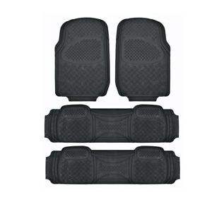Black 3 Row Motor Trend 100 Odorless Rubber Floor Mats Fits Chevrolet Traverse