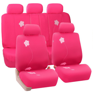 Fh Group Universal Fit Full Set Floral Embroidery Design Car Seat Cover pink