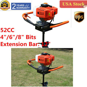 52cc Petrol Power Post Hole Digger Earth Auger Drill Fence Borer 4 6 8 Bits