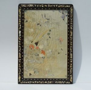 Beautiful Antique Chinese Mother Of Pearl Inlay Wood Frame Silk Embroidery Birds
