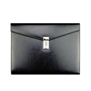 Faux Leather Document Bag With Lock File Storage Vintage Black Organizer Bag