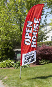 8 Open House Portable Outdoor Feather Flag Kit W Bag Real Estate Banner Sign