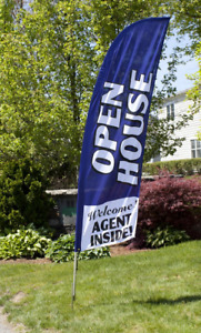 8 Open House Portable Outdoor Feather Flag Kit W Bag Real Estate Blue Banner