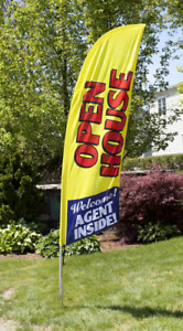 8 Open House Portable Outdoor Feather Flag W Bag Real Estate Yellow Banner