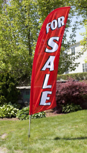 8 For Sale Portable Outdoor Feather Flag W Bag Real Estate Red Banner Sign