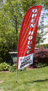 8 Open House Agent Inside Red Outdoor Flag W Bag Real Estate Banner Sign