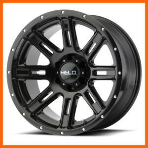 18x9 Helo He900 5 6 8 Lug 4 New Gloss Black Wheels Rims Free Center Caps