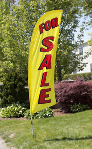 8 For Sale Portable Yellow Red Outdoor Feather Flag W Bag Real Estate Banner