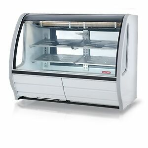 New White 56 Curved Glass Deli Bakery Display Case Refrigerated Casters Tor Rey
