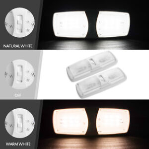 2x Led Interior Rv Dome Lights Ceiling Fixture Replacement Natural