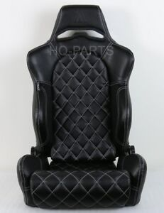 1x Tanaka Universal Black Pvc Leather Racing Seat Dual Recliner Diamond Stitch
