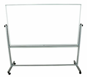 Offex Double Sided 72 W X 40 H Magnetic Whiteboard Easel Silver Frame 3 Pack